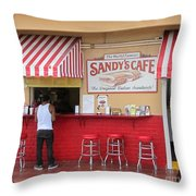 Sandy's Cafe Key West Throw Pillow