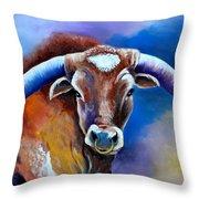 Sandy's Longhorn Bull Throw Pillow