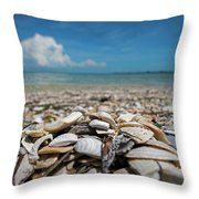 Sanibel Island Sea Shell Fort Myers Florida Broken Shells Throw Pillow