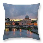 Sant Angelo Bridge At Dusk Throw Pillow