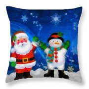 Santa And Frosty Painting Image With Canvased Texture Throw Pillow
