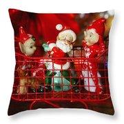 Santa And His Elves Throw Pillow