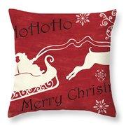 Santa And Reindeer Sleigh Throw Pillow