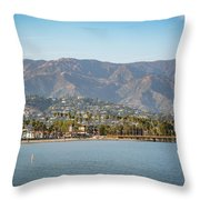 Santa Barbara Coastline From The Water Throw Pillow
