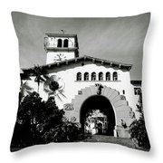Santa Barbara Courthouse Black And White-by Linda Woods Throw Pillow