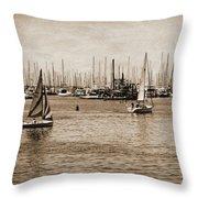 Santa Barbara Harbor Sepia Throw Pillow