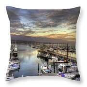 Santa Barbara Harbor Sunset Throw Pillow