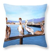 Santa Barbara Pelicans Throw Pillow