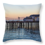 Santa Barbara Wharf At Sunset Throw Pillow