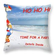 Santa Christmas Party Invitation Throw Pillow