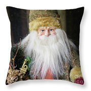 Santa Claus Doll In Green Suit With Forest Background. Throw Pillow
