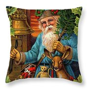 Santa Claus Ringing A Bell Throw Pillow