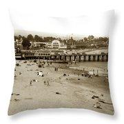 Santa Cruz Beach With Ideal Fish Restaurant 1930's Throw Pillow