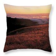 Santa Cruz Mountains At Sunset Ca Usa Throw Pillow