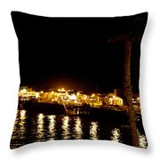 Santa Cruz Pier At Night Throw Pillow