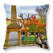 Santa Fe Obelisk A Pigeon And An Accordian Player Throw Pillow