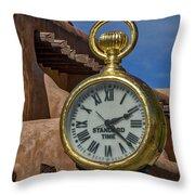 Santa Fe Plaza Clock Throw Pillow