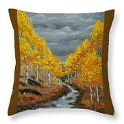 Santa Fe River Aspens Throw Pillow