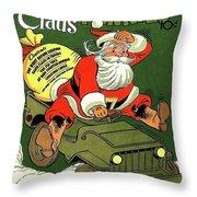 Santa In A Hurry Throw Pillow