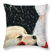 Santa Loves Dogs Throw Pillow