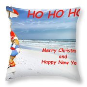 Santa Merry Christmas And Happy New Year Card Throw Pillow