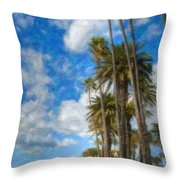 Santa Monica Ca Palisades Park Bluffs Palm Trees Throw Pillow