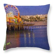 Santa Monica Pacific Park Pier And Lowes Hotel Throw Pillow