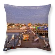 Santa Monica Pacific Park Pier Skyline Panoramic Throw Pillow