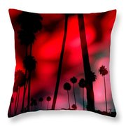 Santa Monica Palms Fiery Red Sunrise Silhouette Throw Pillow