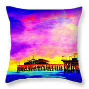 Santa Monica Pier A Night Throw Pillow