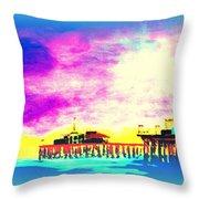 Santa Monica Pier In Blue Throw Pillow
