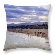 Santa Monica Sunset Panorama Throw Pillow