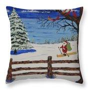 Santa On Skis Throw Pillow