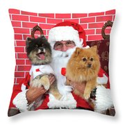 Santa Paws With Two Dogs Throw Pillow