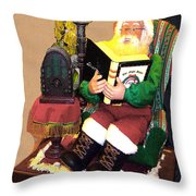 Santa Reads A Story To The Children Throw Pillow
