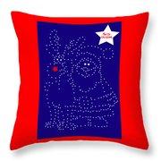 Santa Rudolph Stars Blue 2 Throw Pillow