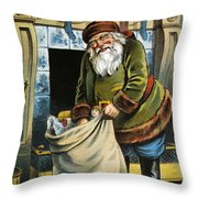 Santa Unpacks His Bag Of Toys On Christmas Eve Throw Pillow