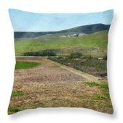 Santa Ynez Mountains Green Hills Ranch Throw Pillow