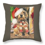 Santas Little Yelper Throw Pillow