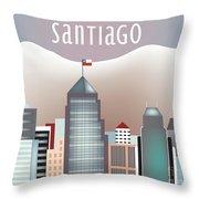 Santiago Chile Horizontal Skyline Throw Pillow