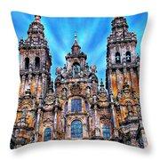 Santiago De Compostela Cathedral Throw Pillow