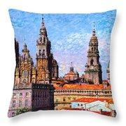 Santiago De Compostela, Cathedral, Spain Throw Pillow