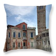 Santo Stefano Venice Leaning Tower Throw Pillow