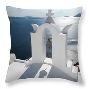 Santorini Bell Tower Casts Shadow Throw Pillow