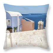 Santorini Blue House In Oia Throw Pillow