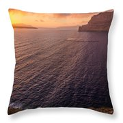 Santorini Caldera Sunset Throw Pillow