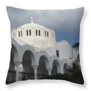 Santorini Church 2 Throw Pillow