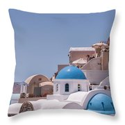 Santorini Church In Oia Throw Pillow