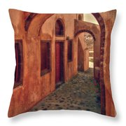 Santorini Courtyard Throw Pillow