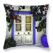 Santorini Doorway 1 Throw Pillow